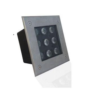 Spot LED encastre sol carré-inox 3W-9W